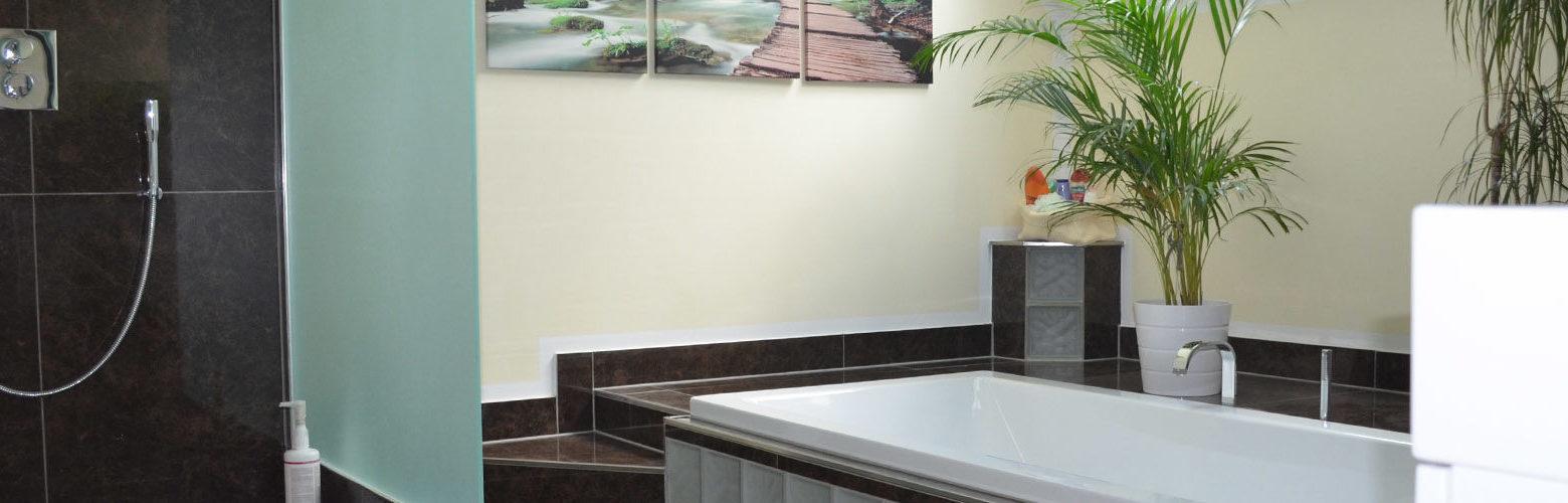 Modernes Wellness-Badezimmer mit ebenerdiger Regendusche und abgesenkter Badewanne
